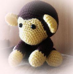 johnny the monkey baby ready to play amigurumi monkey by bizubijou