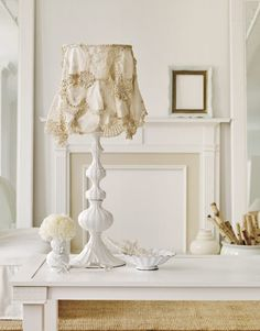 Image detail for -white lamp with a lampshade covered in draped doilies.