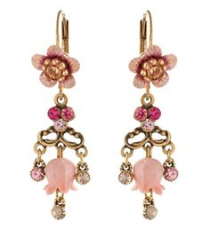 Michal Negrin Amazing Dangling Earrings Lilies Flowers Lilac Fuchsia Crystals