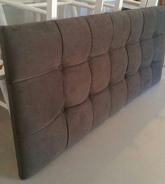 Grey velvet modern tufted upholstered headboard custom wall mounted