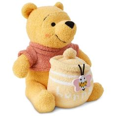 Disney Winnie The Pooh with Hunny Jar Plush for Baby Multi Toys Seat-Stroller Toys Gifts-Keepsakes Frames-Journals Winnie The Pooh Plush, Winnie The Pooh Nursery, Disney Winnie The Pooh, Baby Disney, Disney Plush, Disney Stuffed Animals, Cute Stuffed Animals, Toddler Toys, Baby Toys