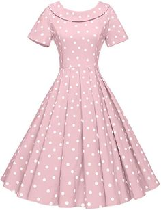 GownTown Women's 1950s Polka Dot Vintage Dresses Audrey Hepburn Style Party Dresses at Amazon Women's Clothing store: 1950s Costume, Costumes For Sale, I Love Lucy, Poodle, Cinderella, Short Sleeve Dresses, Poodles