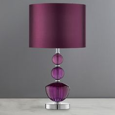Brown Bedroom Colors, Purple Table Lamp, Glass Lamp Base, Purple Home Decor, Victorian Lamps, Table Lamps For Bedroom, Contemporary Table Lamps, Unique Lamps, Lamp Bases