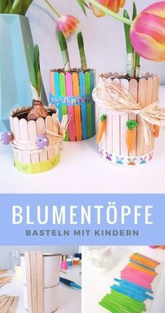 Blumentopf aus Dosen & Eisstielen: Frühlingsdeko selber basteln Flowerpot made of tin cans and ice-cream sticks: in these decorative flower pots small plants come out big. We'll show you how to make the spring decoration with children. # for spring Kids Crafts, Diy And Crafts, Upcycled Crafts, Kids Diy, Diy Flowers, Flower Decorations, Spring Decorations, Diy Y Manualidades, Decorated Flower Pots