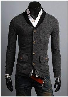 Men's V-Collar Cardigan w Plaid Elbow Patch