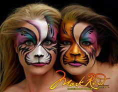 Mark Reid Art (Click smaller images to enlarge) Albuquerque, NM, USA Mark Reid Art offers the finest in custom face or body painting designed to fit your needs. From private sessions for that one-of-a-kind Kitty Face Paint, Cool Face Paint, Mime Face Paint, Face Paint Makeup, Face Painting Designs, Paint Designs, Tiger Face Paints, Animal Face Paintings, Adult Face Painting