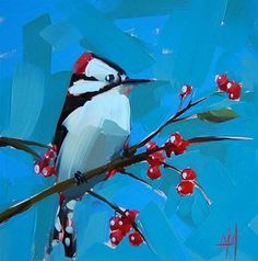 """Downy Woodpecker"" - Original Fine Art for Sale - © Angela Moulton"