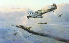 RAF Hawker Hurricanes take on Luftwaffe He-111's in 1940 Battle of Britain