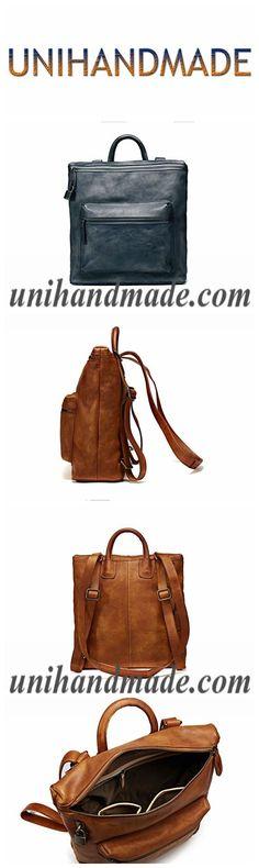 b4fdb1be9b92 Handmade Full Grain Genuine Leather Backpack Shoulder Handbag F70