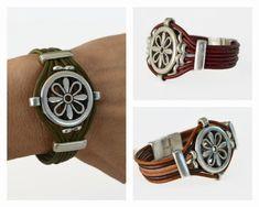 Multi strand leather bracelets, hazel leather cuff, silver plated close zamak bracelet, wide bracelet, bangle hypoallergenic, women gifts by DOCECUENTAS on Etsy https://www.etsy.com/listing/265345474/multi-strand-leather-bracelets-hazel
