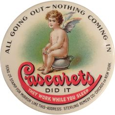 Old, Celluloid Pocket Mirror - Cascarets Laxative
