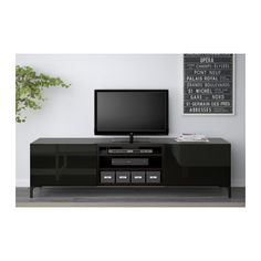 "BESTÅ TV unit with drawers - black-brown/Selsviken high-gloss/black, drawer runner, push-open, 70 7/8x15 3/4x18 7/8 "" - IKEA"