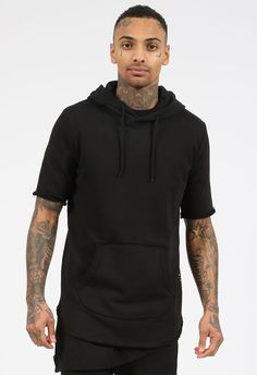 1edd3af99 man black curved hem short sleeve hoodie with side zipper http://www.