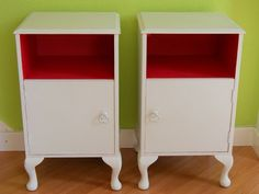 Pair of Vintage Shabby Chic Bedside Cabinets by Upvamped on Etsy Shabby Chic Kitchen Cabinets, Annie Sloan Old White, Annie Sloan Paints, Bedside Cabinet, Recycled Furniture, Vintage Shabby Chic, Pink Color, New Homes, Sheffield