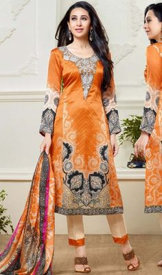 Spellbind onlookers like Karisma Kapoor with this orange color shade georgette printed pant style suit. The printed work seems to be chic and best for any celebration. #yokeworksalwarsuits #salwarkameez #pantstylesalwardress