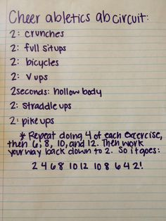 Cheerleading ab workouts... We did these after practice... they kill! Especially when you're already tired from practice!