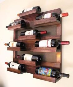 Stunning 9 Bottle Wine Rack with Decorative Mesh Wine Shelf Hanging Wine Rack, Wine Rack Wall, Wine Shelves, Wine Storage, Canto Bar, Pallet Wine, Rustic Wine Racks, Wood Shop Projects, Wall Accessories