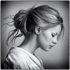 Modest girl | hairstyle, sideview, black and white
