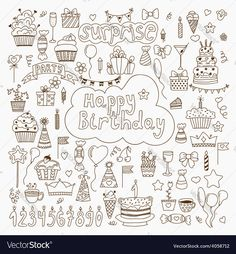 Hand drawn Birthday elements Set of birthday party elements. Download a Free Preview or High Quality Adobe Illustrator Ai, EPS, PDF and High Resolution JPEG versions.