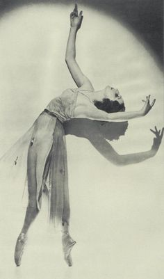 Alexandra Danilova (Nov. 20, 1903 - July 13, 1997) was born in Russia and trained at the Imperial School of Ballet in St. Petersberg, Russia. She was of the most popular dancers of her time and danced with the Ballet Russe de Monte Carlo from 1938 - 1945 where she was often partnered by Freddie Franklin. The two were part of the original cast of Danses Concertantes premiering September 10, 1944. Choreography for the Ballet Russe de Monte Carlo was by George Balanchine.