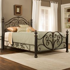 @ Grand Isle Panel Bed By Hillsdale Furniture Bed Sets, Iron Furniture, Bedroom Furniture, Rustic Furniture, Furniture Sets, Bed Designs Pictures, Steel Bed Design, Wrought Iron Beds, Hillsdale Furniture