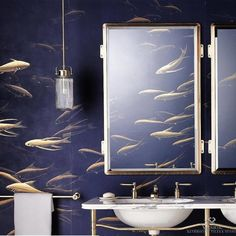 Our Derwent Pendant Light has a beautiful hand blown fluted glass shade and with hand made brassware as well, every piece is unique. Fish Wallpaper, Bathroom Wallpaper, De Gournay Wallpaper, Blue Wallpapers, Pink Walls, Amazing Bathrooms, Glass Shades, Instagram, Painted Silk