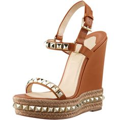 Christian Louboutin Cataclou Espadrille Wedge, Brown ($695) ❤ liked on Polyvore