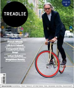 Fashion icon Paul Smith, not the only knight of the realm who can trackstand but check him out, owning those tram tracks!