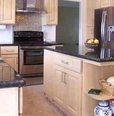 Santa cecilia granite santa cecilia and oak cabinets on for Bleached maple kitchen cabinets
