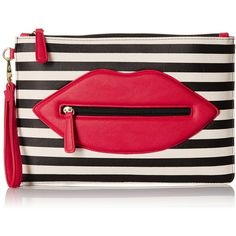 LUV BETSEY by Betsey Johnson Stripe Clutch ($34) ❤ liked on Polyvore featuring bags, handbags, clutches, red handbags, stripe purse, stripe handbag, betsey johnson purses and striped handbag