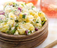 This potato salad uses sour cream instead of traditional mayonnaise. The pickled celery adds the perfect crunch to every bite of this crowd pleasing side dish. Mcdonalds, Pickled Celery, Vegan Potato Salads, Greek Salad Pasta, Picnic Foods, Picnic Potluck, No Sugar Foods, Salad Recipes, Side Dishes