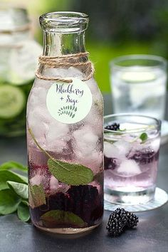 Blackberry & Sage Water (Blackberry, Mango, & Pineapple Water is yummy!)