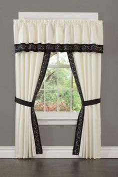 "Present Living Home Dalya Window Valance by Present Living Home. $22.49. 100% polyester. 2-inch rod pocket and 1.5"" header. Use separately or as an over-treatment with the window panels. Tailored window valance is trimmed with an embrodered bottom band; 80 by 15. Dalya Window Valance is trimmed along the bottom edge with an embroidered band. The valance can be used free-standing, or over the panels, or inserted between toi panels to add to the overall width of the w..."