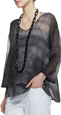 Eileen Fisher - Printed Silk Chiffon Top