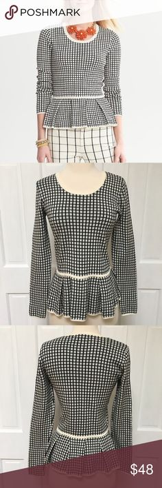 """{Banana Republic} Windowpane Pleat Peplum Sweater BRAND: Banana Republic  ITEM:Windowpane Peplum Sweater FEATURES: Scoop Neck, Windowpane Print, Pleated Peplum  FABRIC:100% Cotton SIZE:S CONDITION:EUC  MEASUREMENTS Length: 23"""" Bust: 15.5"""" Sleeve: 24.5""""  PLEASE NOTE: Measurements are approximate and taken while item is laying flat  ALL ITEMS SHIP FROM SMOKE FREE HOME. NO Trades. NO Holds. NO PayPal. NO Lowball Offers. Offer Button Only. Banana Republic Sweaters Crew & Scoop Necks"""