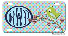 BIRD BIRDIE Polka Dot Tree custom Car Tag Name Any Color Monogram PERSONALIZED License Plate Car Tag by iselltshirts (https://www.etsy.com/listing/170476037/personalized-license-plate-car-tag-bird?ref=shop_home_active_1)