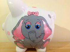 Personalized Large piggy Bank Grey/pink elephant - Newborn, Baby Shower, Ring Bearer, Flower Girl, Christening Gift by KUTEKUSTOMKREATIONS on Etsy