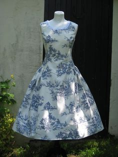 Toile de jouy dress with matching jacket by Swellrenditions