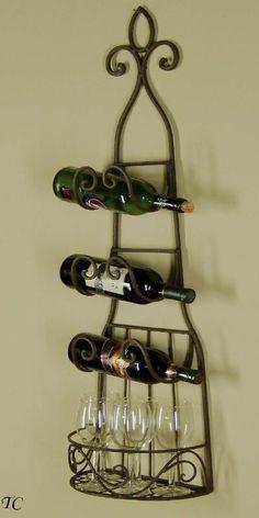Treasurecombers // Sophia Wrought Iron Wine Rack - Towel Holder - Tuscan Style