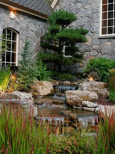 Rustic Landscape/Yard with Exterior stucco walls, Water feature, Pond