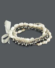 Pearl Bracelets, Pearl and Hematite Set of Five Stretch Bracelets - Bracelets - Jewelry & Watches - Macy's