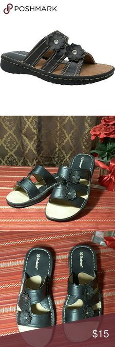Shaboom flower slide FINAL SALE PRICE Only worn about 5 times.  They ran a little too wide for me.  Black flowers with silver studs. shaboom Shoes Sandals