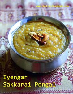 Iyengar style sweet pongal recipe / Sakkarai pongal recipe with milk, jaggery - Recipe with step by step pictures and video. Jaggery Recipes, Milk Recipes, Sweet Recipes, Cooking Recipes, Kitchen Recipes, Healthy Recipes, Indian Dessert Recipes, Indian Sweets, Indian Recipes