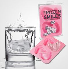 Denture Ice Cube Trays. I want to make some of these to put into people's drinks. Haha! :)
