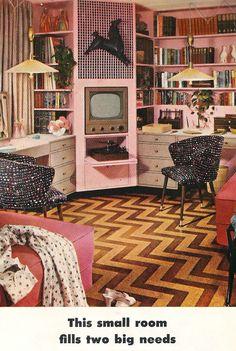 Living in a Retro World Retro Room, Vintage Room, Bedroom Vintage, Vintage Pink, Vintage Office, Vintage Modern, Modern Retro, Vintage Industrial, Retro Bedrooms