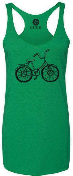 Hand Drawn Bicycle (Black) Tri-Blend Racerback Tank-Top