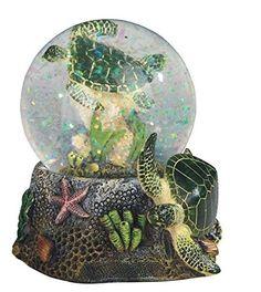 This gorgeous 3.75 Inch Marine Life Snow Globe with Sea Turtle Statue Figurine…