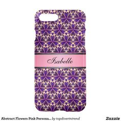 Abstract Flowers Pink Personalized Name v2 iPhone 7 Plus Case