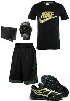 Men's black and gold nike outfit