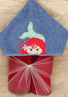 Little Mermaid Hooded Towel Hooded Towels, Embroidery Thread, The Little Mermaid, Big Kids, Hoods, Great Gifts, Applique, Handmade Items, Quilts